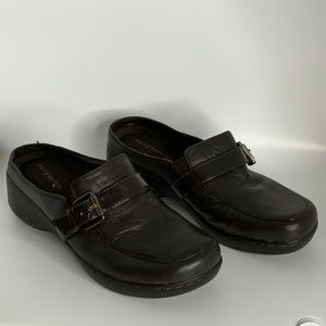 Easy Spirit Mules Leather Clogs Slip On Brown